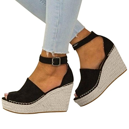 Punta Espadrillas Flatform Shoes Con Caviglia Hasp Wedged Aperta Cuciture E Alla Womens Sandali Cinturino Tacco Byste Nero 6PwWETcZqB