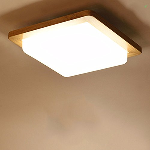 XHOPOS HOME Ceiling Lamp LED Japanese Bedroom Balcony Wood Living Room Room Lighting 32x32cm by XHOPOS HOME-Ceiling light