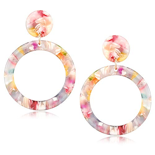 Pink Blush Floral Drop Dangle Earrings Summer Season Acrylic Hoop Earrings for Girls