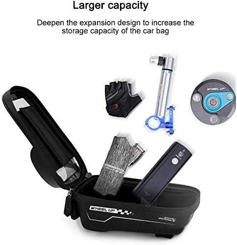 Bike Frame Bag Waterproof Bicycle Handlebar Bag with TPU Touch Screen Large Capacity for Smartphones Below 6.5 Inch