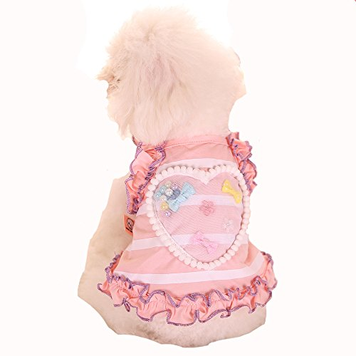 [Bonawen 100% Cotton Puppy Vest with Mobile Pear/Bowtie for Small Dogs under 16lbs (Pink,L)] (Adult Pear Costumes)