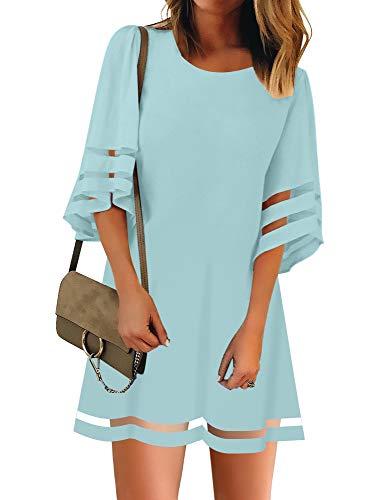 LookbookStore Women Casual Summer Crewneck Mesh Patchwork 3/4 Bell Sleeve Loose A-line Tunic Dress Light Blue Size Large