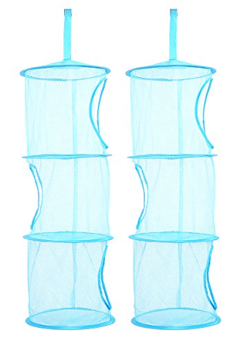 Hanging Mesh Storage Organizer (TIRSU Mesh Hanging Storage Organizer toy storage space saver bags 3 Compartments for kid room blue 2pieces lz0001-blue)