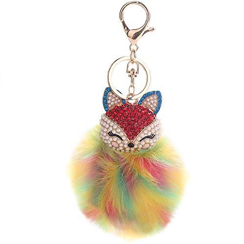 HXINFU Cute Pompom Ball Fox Head Keychain For Grils Fluffy Ball Keyring ()