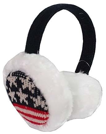 USA American Flag Winter Faux Fur Knitted Ear Muffs Warmer