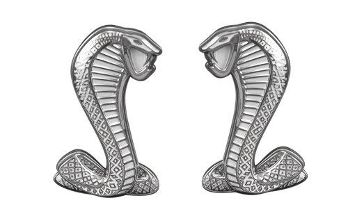 White & Chrome Mustang Cobra Fender Emblems - Pair
