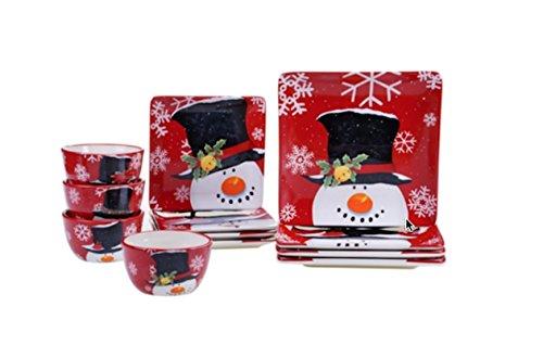Top Hat Snowman Dinnerware Set of 12