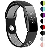 QIBOX Bands Compatible with Fitbit Inspire HR/Inspire, Soft Breathable Silicone Sports Wristands Accessories Women Men Strap Bracelet for Inspire HR Tracker Small Large