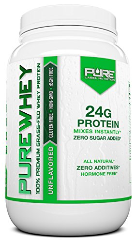Grass Fed Whey Protein | 2lb + Unflavored Grass Fed Whey | 100% Natural Whey w/No Sweeteners or Added Sugars | rBGH Free + GMO-Free + Gluten Free + Preservative Free | PURE Whey