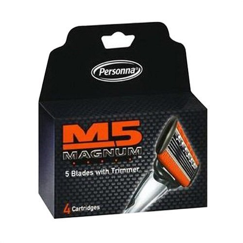 M5 Magnum Razor Blades with Trimmer, 4 Count Refill Blades (3 Pack) - Magnum Strips