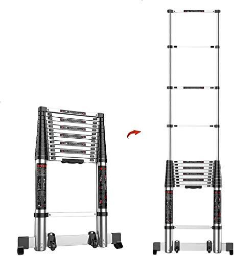 lqgpsx 2.7M/9ft DIY Aluminium Telescopic Ladder Extension Extend – Portable Foldable Multi-Purpose Straight Telescoping…