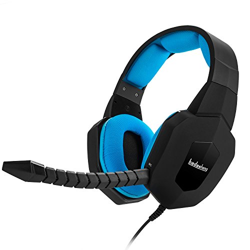 Badasheng PS4 Gaming Headset (Blue) – Compatible with PlayStation 4, Xbox One, PC, Tablet, Smartphones– Noise-Cancelling Headphones with Detachable Microphone – Crystal Clear Video Game Audio