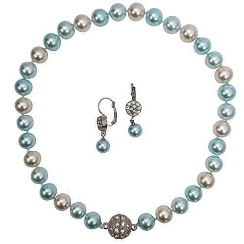Single Strand Glass Beaded Rhinestone Fireball Simulated Pearl Necklace Earrings Set (Blue & - Glass Dove Necklace