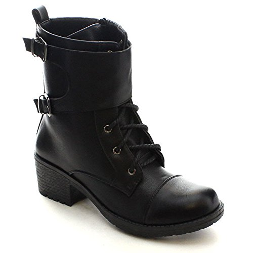 BELLAMARIE RYDER-11 Womens Chic Cap Toe Lace Up Inside Zip Mid-Calf Boots, Color:BLACK, Size:7