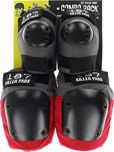 187 Combo Pack Knee/Elbow Pad Set L/XL-Grey/Red