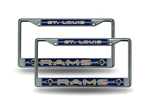 St Louis Rams Chrome Metal (2) Bling License Plate Frame Set by Rico