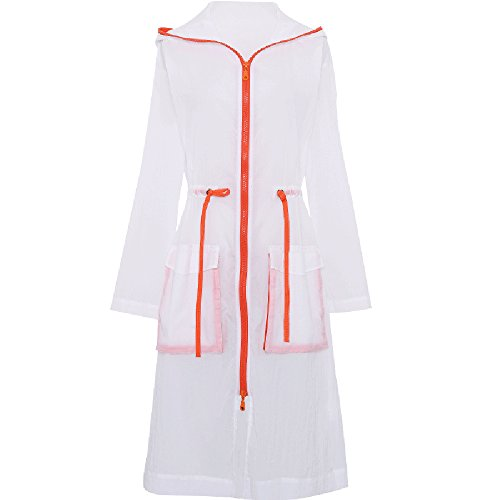 QFFL fangshaifu 女性の夏のロングセクションサンプロテクションウェア/ルースシンアウトドアビーチピュアカラーカーディガン/アンチUVシンプルな巾着ツーリズムサンスクリーンショール (色 : A, サイズ さいず : M)