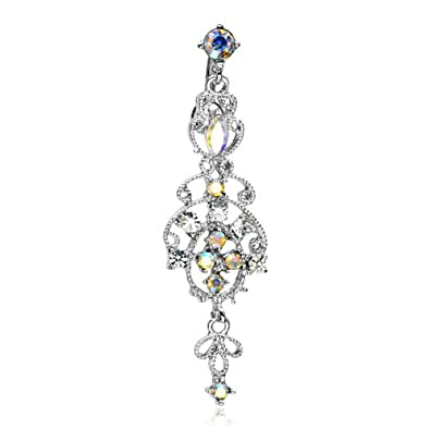 Amazon the home of hot deals victorian style chandelier dangle the home of hot deals victorian style chandelier dangle belly navel ring 14 gauge mozeypictures Choice Image