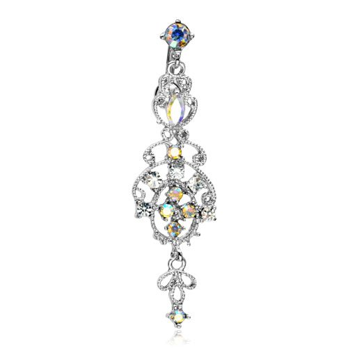 The Home of Hot Deals Victorian Style Chandelier Dangle Belly Navel Ring - 14 Gauge, 3/8