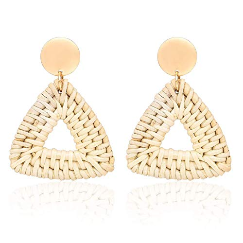 Rattan Earrings Women Girls Lightweight Bohemia Statement Drop Dangle Earrings for Summer