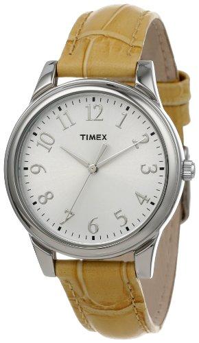 Timex Women's T2P1282M Beige Croco Patterned Leather Strap Watch