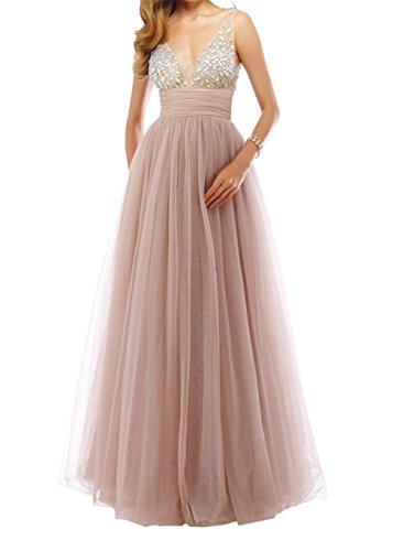 Damen Rosa Rock Brautmutterkleider Steine A Tuell Abendkleider Promkleider Tanzenkleider Langes Prinzess Dunkel Charmant linie dwApFPSqd
