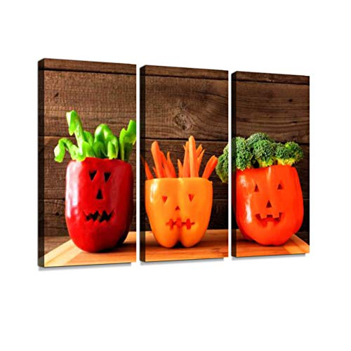 Halloween Vegetables and dip in Jack o Lantern Peppers on a Wood Background Print On Canvas Wall Artwork Modern Photography Home Decor Unique Pattern Stretched and Framed 3 Piece