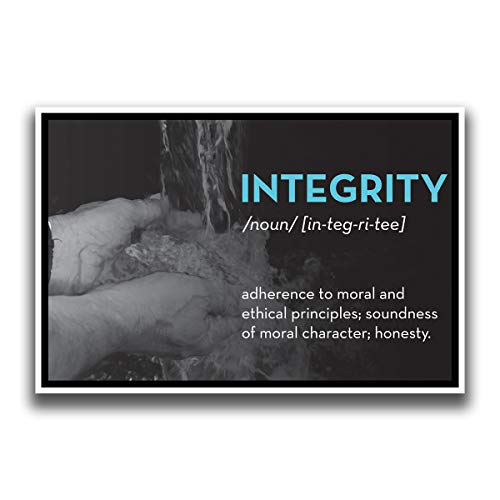 JSC512 Definition of Integrity Dictionary Style Poster Washing Hands | 18-Inches by 12-Inches | Motivational Inspirational Educational | Premium 100lb Gloss Poster Paper