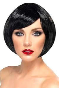 Smiffy's - Peluca corta con glamour, color negro, para mujer