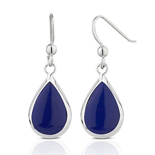 925 Sterling Silver Blue Reconstructed Lapis Lazuli Teardrop Minimalist Dangle Statement -