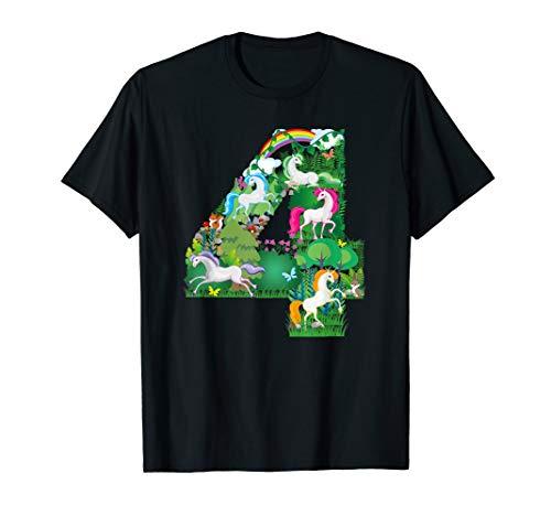 Unicorn Enchanted forest Scene fourth Birthday number Tshirt