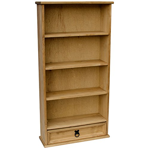 Vida Designs Corona Solid Pine 1-Drawer DVD Rack/Bookcase Storage Unit, Wood