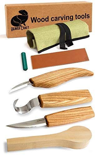 Wood Carving Tools Set for Spoon Carving 3 Knives in Tools Roll Leather Strop and Polishing Compound Hook Sloyd Detail Knife (Wood Spoon Carving Tools Kit) (Rust Carving)
