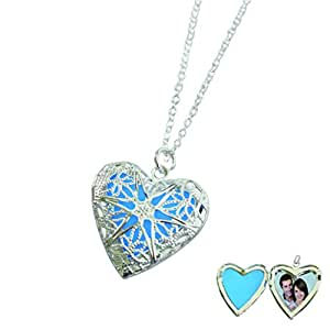 Heart Locket Glowing Necklace Personalized Silver Plated Bronze Jewelry Royal Blue 18 Inches
