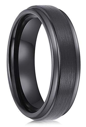 Lanchela & Co. Black Tungsten Carbide Rings 6mm Men Women Wedding Bands Tungsten Engagement Promise Brushed Comfort Fit by Lanchela & Co.