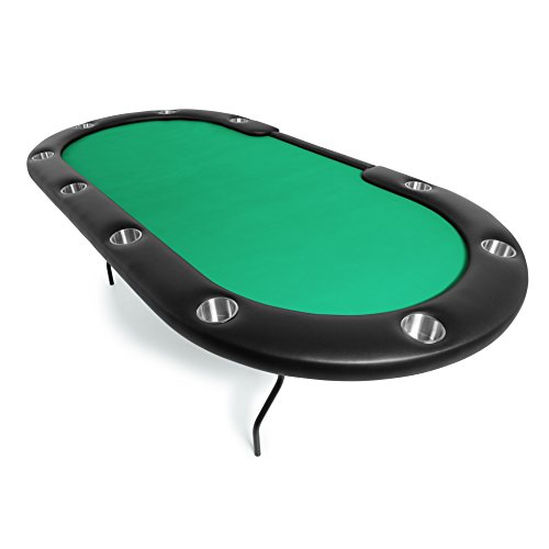 BBO Poker Aces Pro Folding Poker Table for 10 Players with Green Felt Playing Surface, 96-Inch Oval by BBO Poker