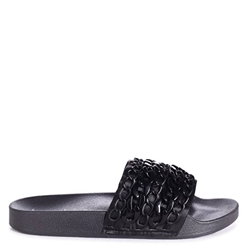 Linzi Susie - Black Slip On Chain Sliders Black PvER1t