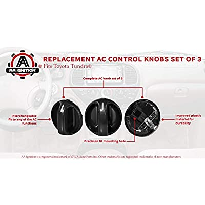 AC Climate Control Knob - Set of 3 - Replaces 55905-0C010, 559050C010 - Fits Toyota Tundra 2000, 2001, 2002, 2003, 2004, 2005, 2006 - Air Conditioner Replacement Switch: Automotive