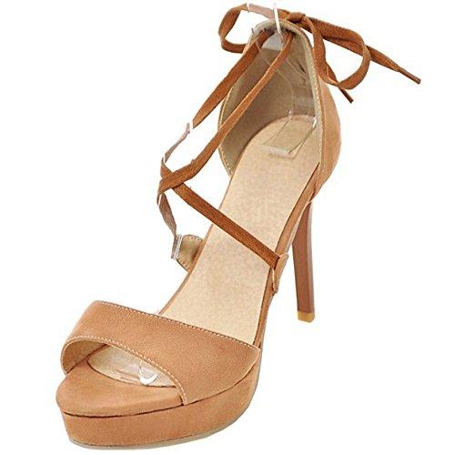 COOLCEPT Mujer Moda Criss Sandalias Tacon de Aguja Peep Toe Plataforma Zapatos camello