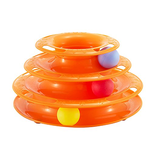 elite Best Pet Cat Crazy 3 Balls Disk Interactive Amusement 3 Layer Tower of Tracks Cat Toys ()