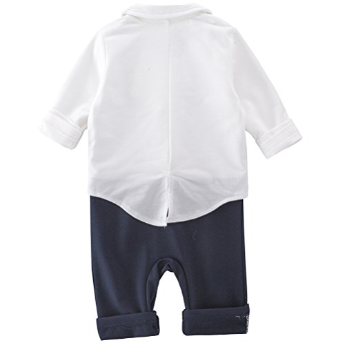 XM Nyan May's Baby Boys Blazer Long Sleeves Gentleman Romper with Bowtie Outfit 2 Pieces Sets
