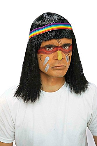 Native Warrior Wig (Mens Native American Indian Chief Wig)