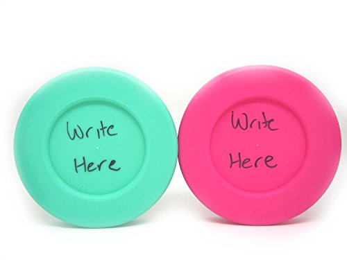 Wide Mouth Mason Jar Lids - Compatible with Wide Mouthed Size Ball Jars - Reusable and Leak Proof Plastic Lids are BPA Free - Includes Pen for Marking - Pink, Teal, Gray & White - Pack of 8