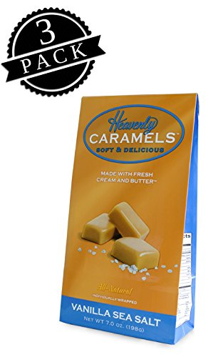 - J Morgan Confections Heavenly Caramels, Vanilla Sea Salt Flavor (7 oz bag, 3-Pack); Gourmet, Artisan Soft and Chewy Butter Caramel Candies, Creamy and Smooth, Hand-Crafted Golden Treats