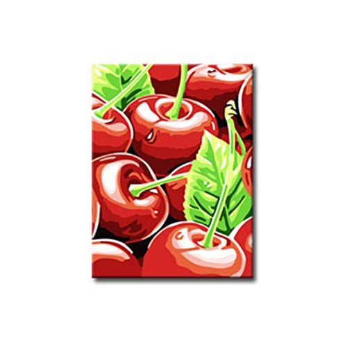 Cherry Fruits Fresh DIY 30x40Cm Tropical Fruit Red Artifact Canvas Painting Oil Painting Wall (400 Wood Cherry)