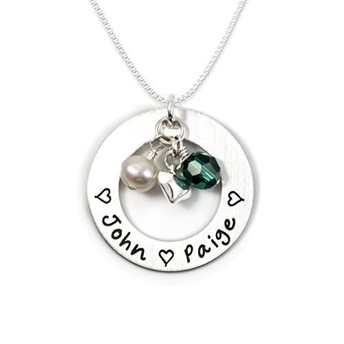 Love Display with Personalized Sterling Silver Round Washer, Hand Finished. Includes up to 4 Swarovski Birthstones or Pearls, and a choice of Sterling Silver Chain. Perfect Gift for Her