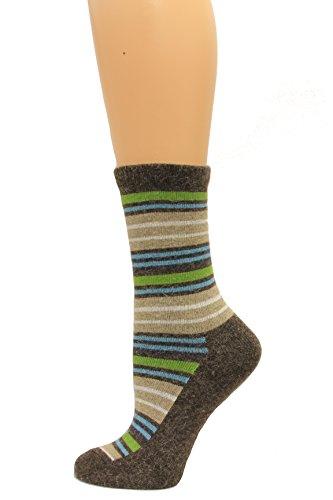 (Wise Blend Angora Stripe Crew Socks, 1 Pair, Brown, Medium, Shoe Size W 6-9 )