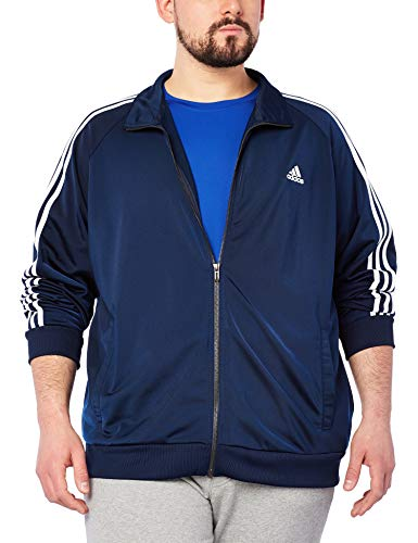 adidas Men's Essentials 3-Stripe Tricot Track Jacket, Collegiate Navy/White, Small by adidas (Image #2)
