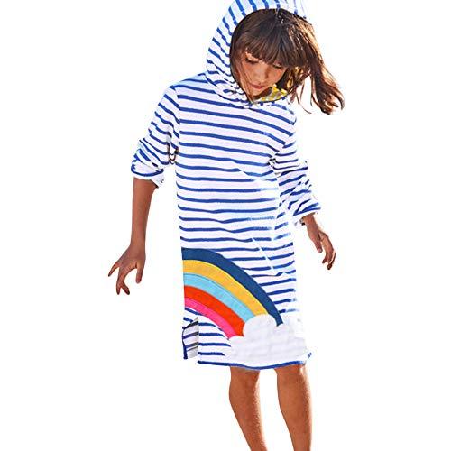 FIRERO Toddler Baby Girl Stereoscopic Cartoon Striped Hoodie Dress Long Sleeve -