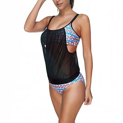 Zhhlaixing Women Black Chiffon Tankini Set Swimsuits Beachwear Bathing Suit Tow Piece Bikini LS1321 Black